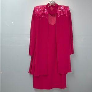 Ursula of Switzerland Dress Hot Pink Dress Size 8P